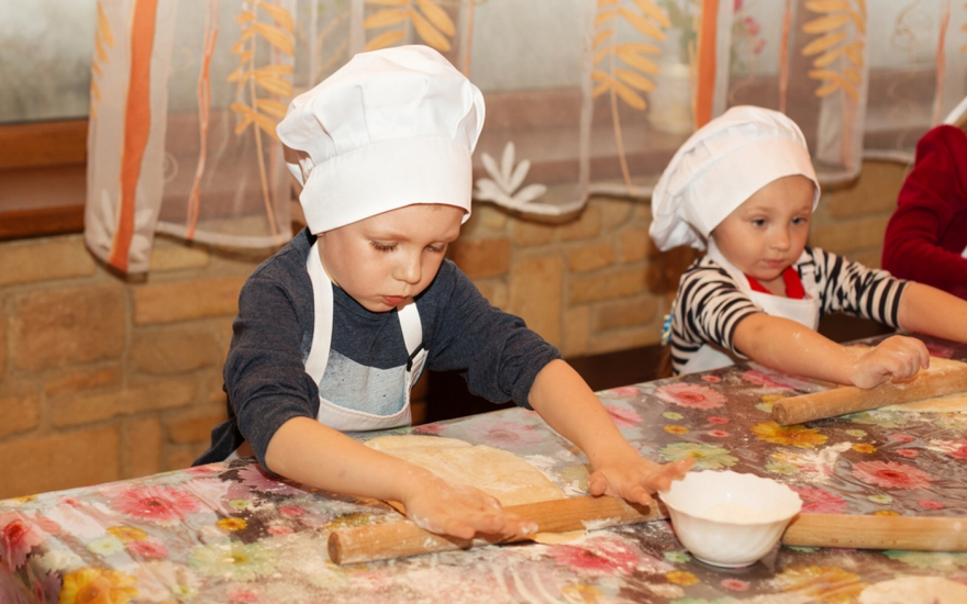 Children making food